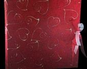 Batik paper photo album red hearts wax inserts wedding or boyfriends original Valentine Day gift bride groom love scrapbook guest book