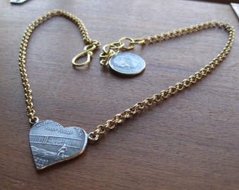North Carolina State Quarter Hand-Cut Heart Necklace with Brass Rolo Chain MADE TO ORDER.