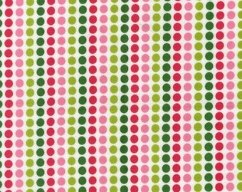 Robert Kaufman Fabric, Candy Stripe Dots in Garden, Remix Collection by Ann Kelle, 1 Yard