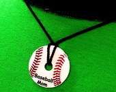 Baseball/Football/Soccer/ Basketball Washer Personalized Pendant Necklace Custom Name Sports Team