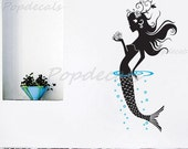 "Mermaid Wall Decal Girls Wall Sticker Baby Girl Room Decors Ocean Wall  Sticker- Mermaid (47"" H) - for Baby Girl Living Room and Bathroom"