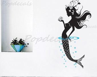 "Mermaid Wall Decal Girls Wall Sticker Baby Girl Room Decors Ocean Wall  Sticker- Mermaid (47"" H) - for Baby Girl Living Room and Bathroom"