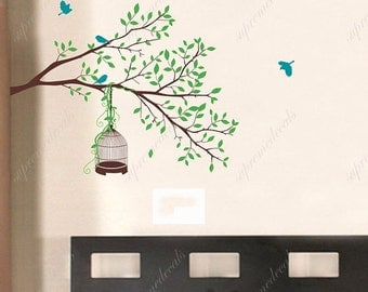 Tree Branch Wall Decals Birds Stickers Nature Design Wall Decors-  Happy Tree branch- Vinyl Decals Living Room Wall Decals Bedroom Stickers