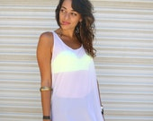 1980s white mesh dress // bathing suit cover up mesh layer