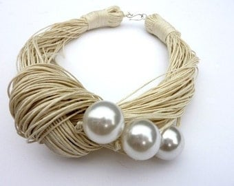 Wedding Necklace Just three pearls-Jewelry Linen Necklace with pearls