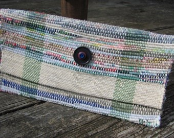 Boho Chic Bag, Summer Clutch Purse, Casual Coastal Seaside Cottage Urban Wristlet Handbag, Woven Recycled Upcycled Eco Fashion Rag Wallet