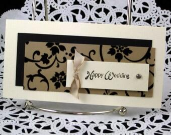 Wedding Card Handmade Elegant Black Velvet Happy Wedding Card Bride and Groom