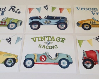 race car nursery art, vintage race car art, boy nursery decor, race car bedding art, race car decor