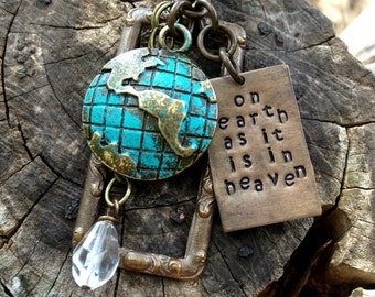 On earth as it is in heaven - hand crafted & stamped Vintaj brass necklace