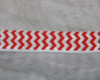 1, 4, or 10 yards Orange White CHEVRON print shiny baby headband DIY Hair Ties FOE stretch foldover fold over elastic