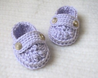 Crochet Baby Loafer Booties - 0 to 3 Months - Lavender