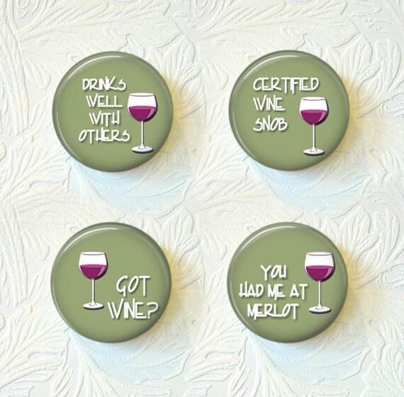 Magnet Set of 4  Wine  Buy 3 Sets Get 1 Set Free  140M