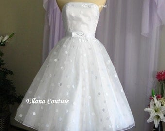 Plus Size. Faye - Vintage Style Polka Dot Wedding Dress. Tea Length.