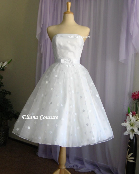 Items similar to faye vintage style polka dot wedding for Etsy tea length wedding dress
