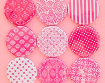 Pink Magnets - Set of Nine 1.25 Inch Button Magnets Packaged in a Custom Box