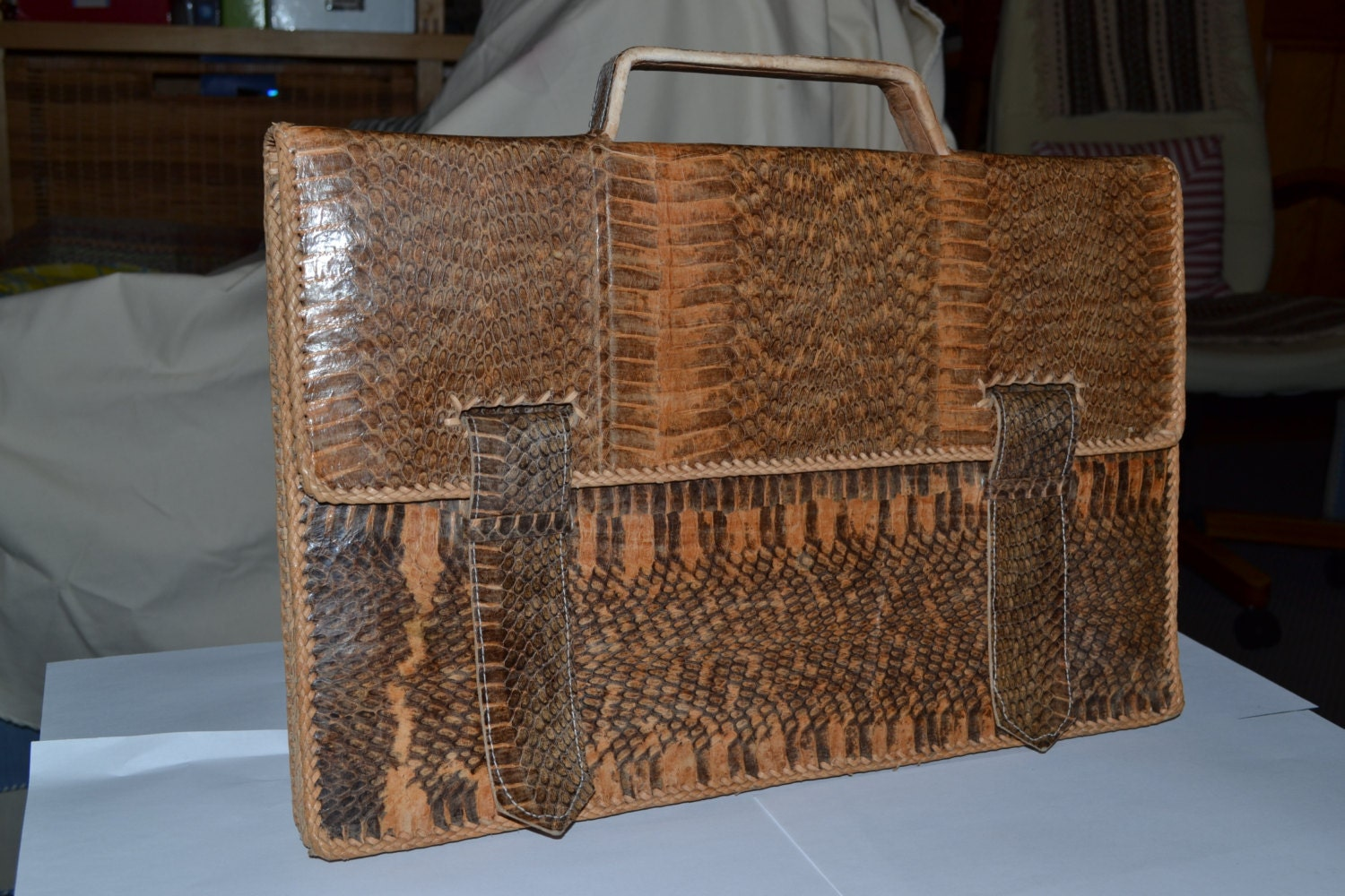 Further Reduced Now 30% off Vintage cca 40's 1940 50's 1950 snakeskin attache briefcase case bag