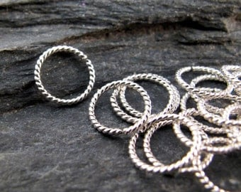 small 6mm cartilage ring hoop. piercing. nose . brow . 20g 20 gauge ring.  gold filled . silver twist wire No.00E278