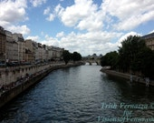 The  Siene River  of Paris France  Art Photography Note Card by Trish Vernazza