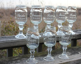 15 Redneck Wine Glasses, Wedding Party, Mason Jars, Engraved mason jar wine glasses, Personalized redneck wine glasses