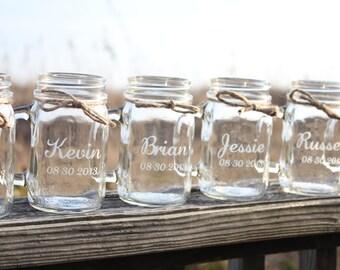 16 Mason Jars Mugs, Wedding Party, Engraved Mason Jar Mugs, Personalized mason Jars,  Wedding Mason Jars, Bridal Party Gifts