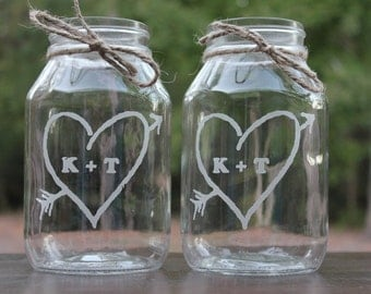 12 Quart Mason Jars, Engraved Wedding Vases, Personalized Mason Jars, Wedding Center Pieces, Rustic vases, Wedding vases