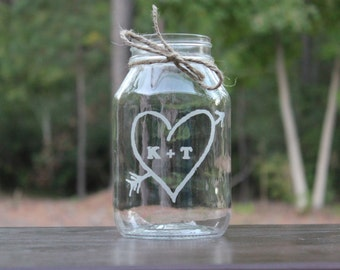 1 Mason Jar Quart Vase, Wedding Center Piece, Personalized  mason jar, Wedding Vase, Wedding Keepsake