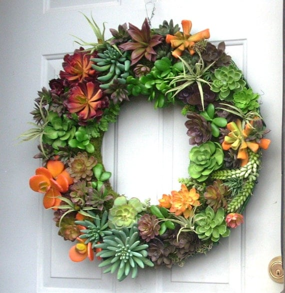 door wreath of artificial succulents faux succulent wreath front door fake cactus wreath