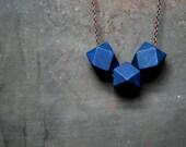 Indigo geometric Wood Necklace - Boho Necklace - Everyday