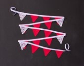 Coral Red Floral Bunting LAST ONE Mini Good Will Bunting