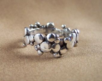 Artisan Sterling Silver Gothic Bubbles Dots Abstract Ring