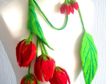 felted Flower, Hand Felted, Wool Jewelry felted  scarf/ necklace/BELT and  earrings