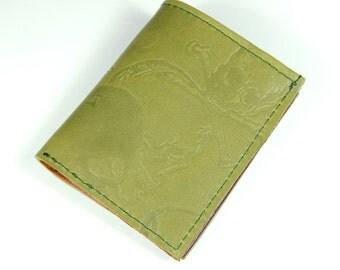 Handmade Skull Embossed Leather Card Wallet In Green & Brown