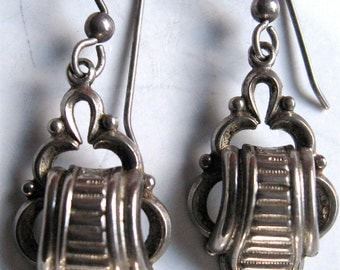 Vintage Earrings Scarab or Scroll Design Silver Tone Converted Screwbacks To Pierced Downton Abbey Victorian