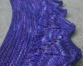 Pattern Only Deep Purple Crescent Shaped Lace Shawlette or Scarf