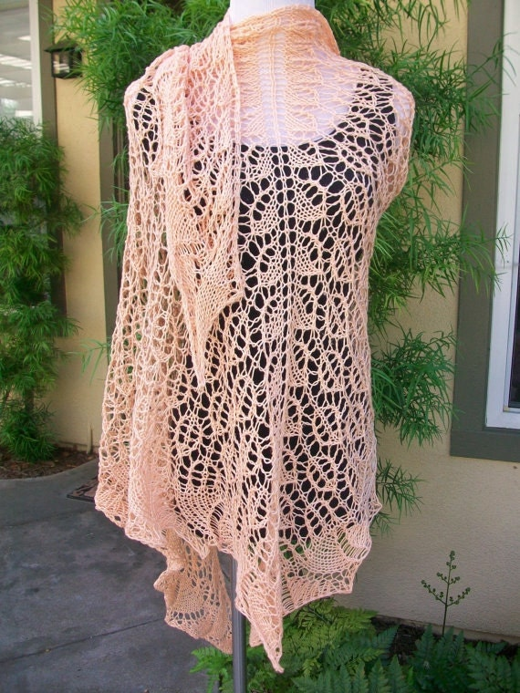Clearance Priced Sweet Georgia Peachsicle Pima Cotton Hand Knitted Lace Shawl