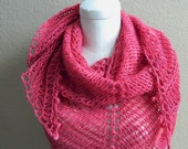 Reserved for J - Pink HandKnit Lace Shawl Triangular Scarf, Ready to Ship