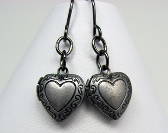Heart Locket Earrings in Gunmetal - Black Heart Earrings, Locket Earrings, Steampunk Earrings, Valentine's Day Gift, Lolita Earrings
