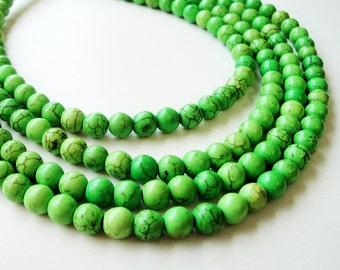 "Green Howlite Beads - Light Green Gemstone Beads - Smooth Round Ball Drilled Stone - Dark Matrix - 16"" Strand - 6mm - DIY Bulk Beads Options"