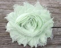 Mint Green Shabby Chic Chiffon Flower Hair Clip - Shabby Hair Flowers - Toddler Hair Bows - Girls Hair Accessories... Free Shipping Promo