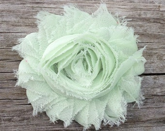 Mint Green Shabby Chic Chiffon Flower Hair Clip - Shabby Hair Flowers - Toddler Hair Bows - Girls Hair Accessories... Free Shipping Promo