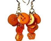 Repurposed  Earrings, Orange Dangle Earrings, Button, Upcycled Jewelry, Summer Earrings, Orange Earrings