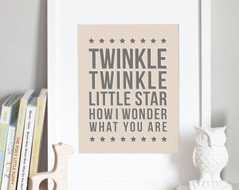 Twinkle Twinkle Nursery Art Print - CUSTOM COLOR - 5x7