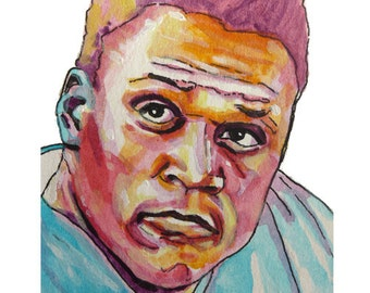 Football Legend Barry Sanders Painting Reproduction Print 11 x 8.5