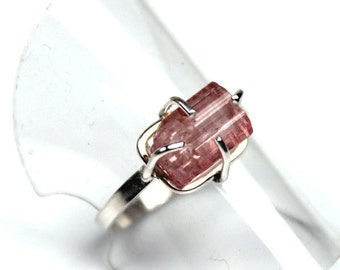 Roughly There - Untreated Pink Tourmaline Rough Sterling Silver Ring