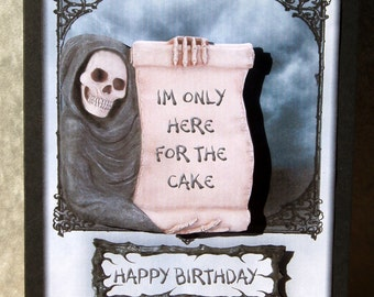 Goth Skeleton Greeting Card - 'I'm only here for the cake'