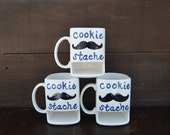 Dad's Cookie Stache - Ceramic Cookies and Milk Dunk Mug - Blue Text