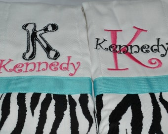 set of 2 custom personalized monogrammed burp cloths in teal and pink zebra