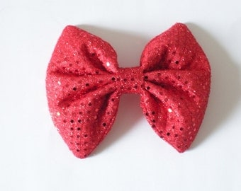 Red Chevron Hair Bow, Red Hair Bow, Iridescent Shimmery Shiny