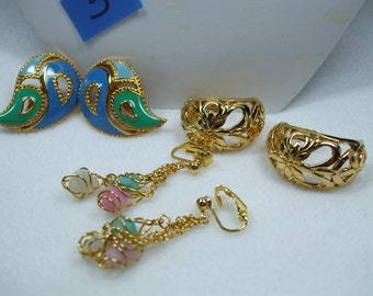 Vintage Avon Set of Three Unique Pairs of  Clip On Earrings-Goldtone Modern Enamel Dangle