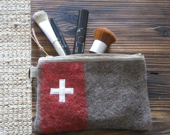 Unique Swiss Army Wool bag- Make up pouch- Great gift. Red Stripe-Swiss cross.Industrial